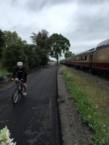 Biker and Wine Train on the Vine Trail (1)