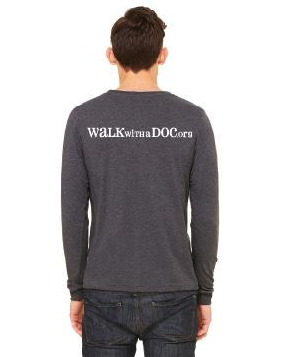 Unisex long sleeve t shirt walk with a doc for T shirt printing westerville ohio